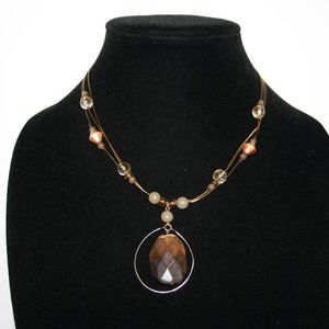 Beautiful gold wire and tigers eye necklace